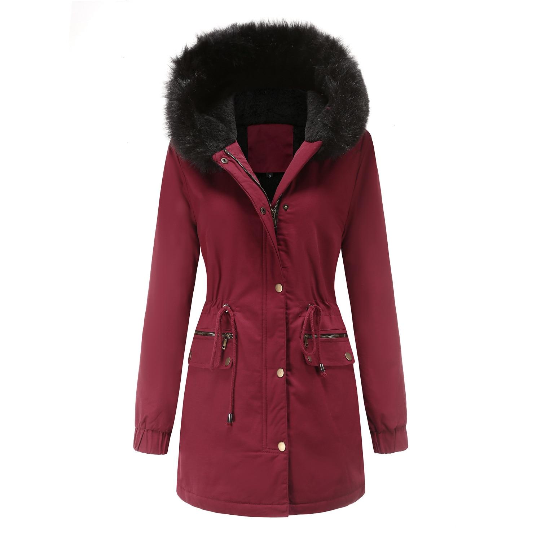 Женская Стеганая куртка с капюшоном, зимняя теплая свободная флисовая куртка с меховым воротником, 2021