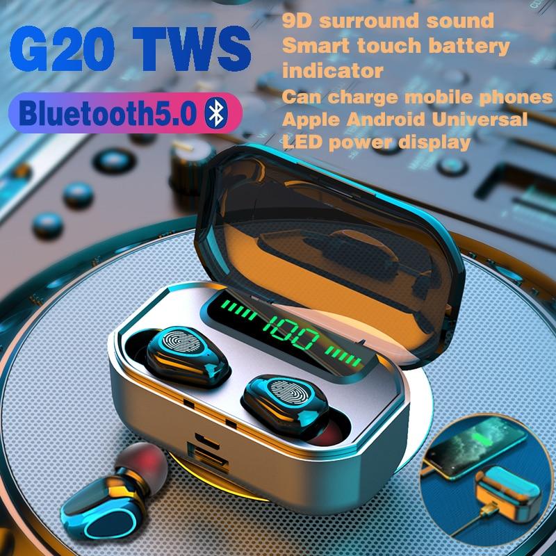 Wireless Headphones TWS Bluetooth Earphones 3500mAh Battery Sports Waterproof Headsets HiFi 9D Stereo Earbuds with Microphones