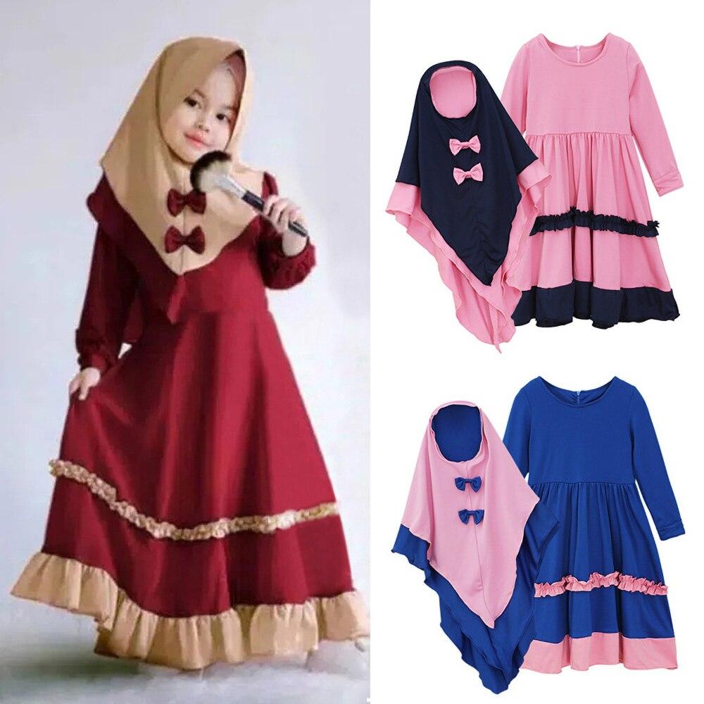 Siskakia niño musulmán hiyab de chicas vestido de traje de manga larga de cremallera volantes plisado vestido con lazo pañuelo Eid traje nuevo