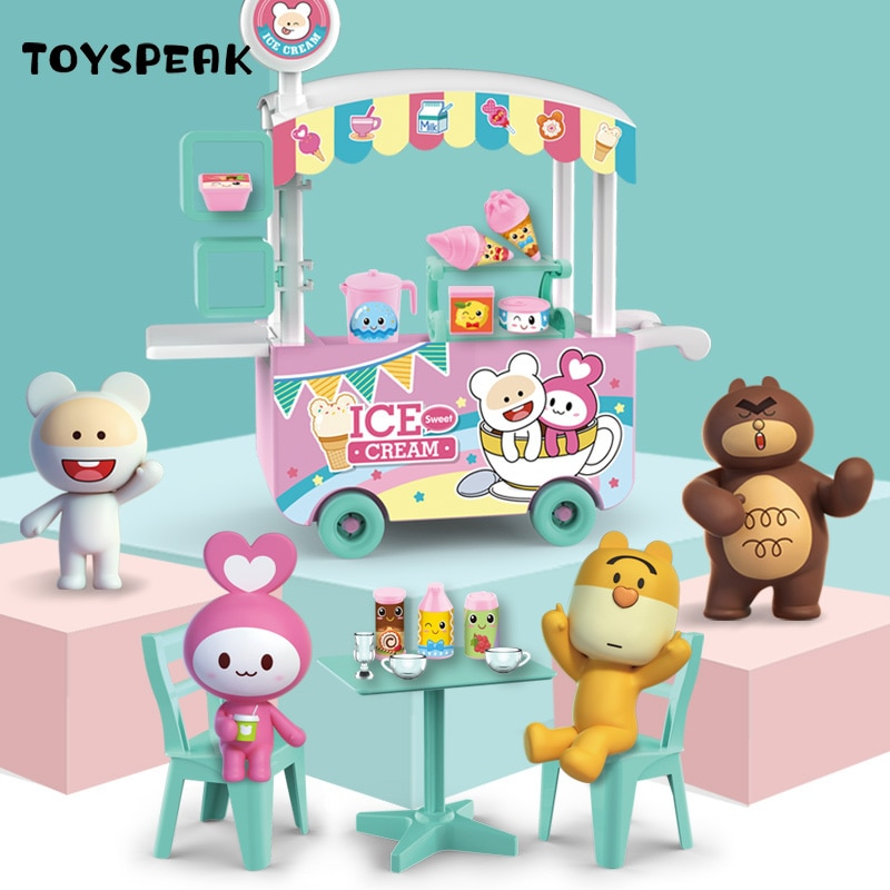 Ice Cream Toy Cart Play Set for Kids 25-Piece Pretend Play Food  Educational Ice-Cream Trolley Truck Great Gift for Kids enlighten new 213pcs 1112 city ice cream truck building blocks kids educational mobile ice cart bricks mini toys for children