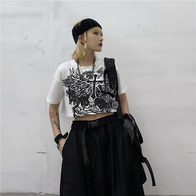 Gothic Style Crop Top Harajuku Graphic T Shirt for Women Ulzzang Korean Tshirt Summer Tee Croptop Goth Clothes Short Sleeve 8