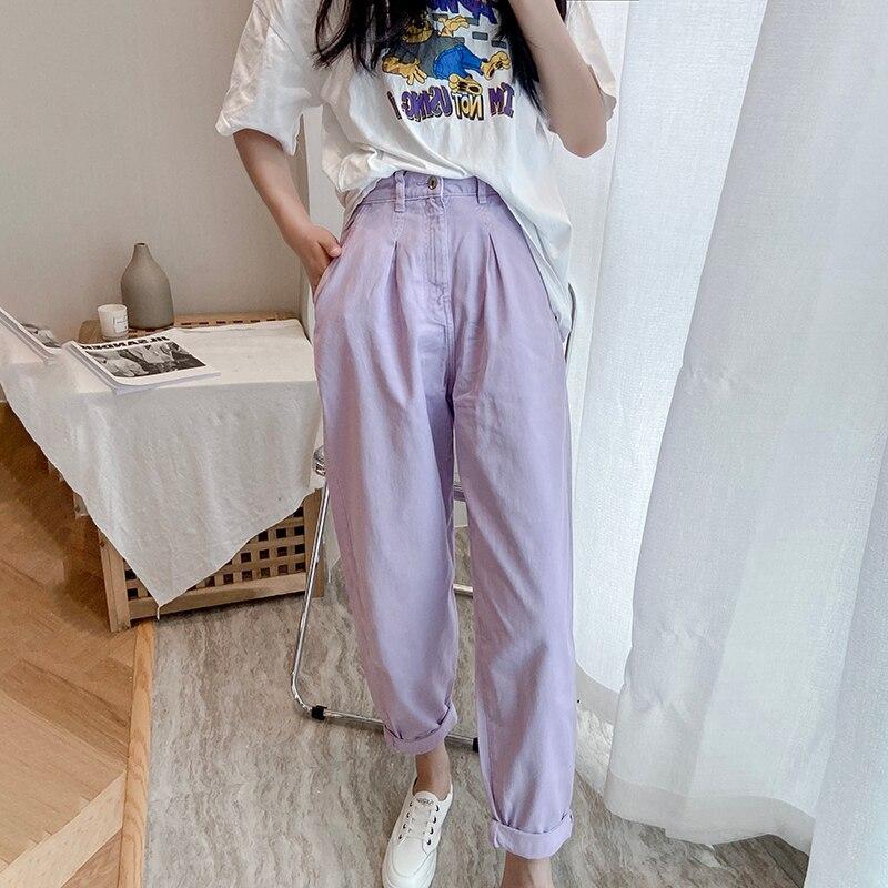 فضفاضة مطوي سراويلي حريمي الإناث جيوب عادية سراويل جينز مترهل الجينز الشارع الشهير النساء عالية الخصر أمي الجينز