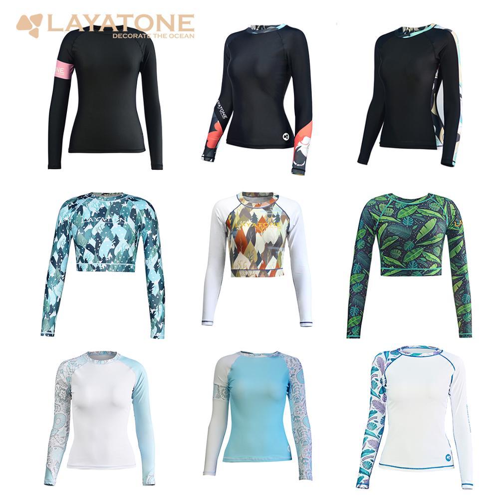 Layatone rashguard feminino banho de manga longa rash guard surf topo colorblock maiô bicicleta ciclismo camisas upf50 + beach wear