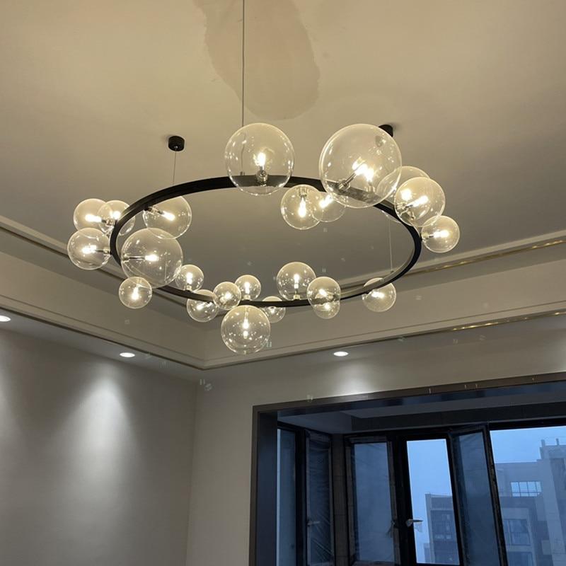 الحديث كرة زجاجية شفافة فقاعة LED الثريا الشمال الأسود دائرة واحدة مستديرة معلقة مصباح دراسة غرفة الطعام الثريا