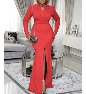Women Party Long Dress Red Long Sleeve High Slit Package Hip Elegant Office Wear Slim African Female Event Classy Occasion Robes