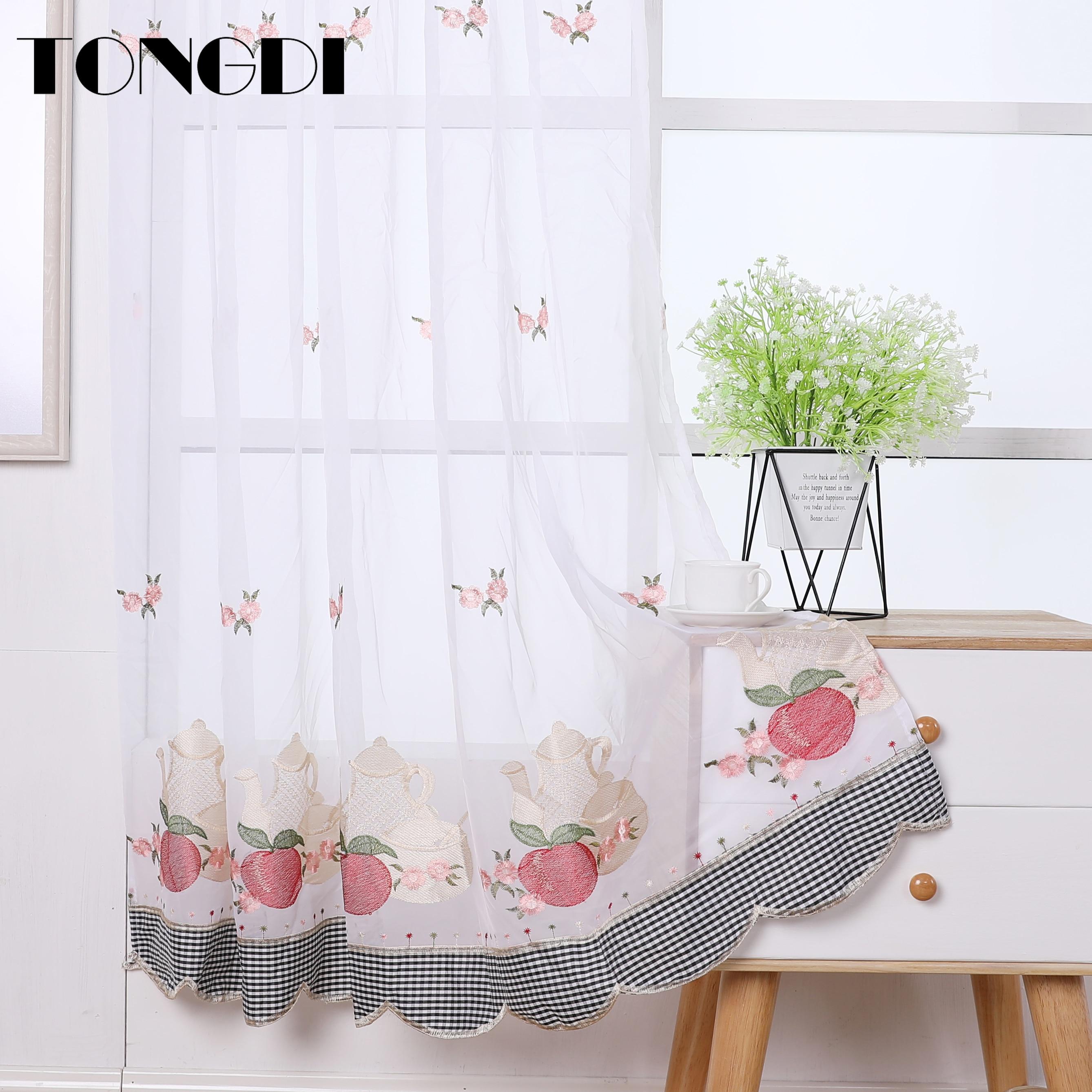 TONGDI, cortina de cocina, cenefa escarpada, cortina Pastoral de tul de frutas para café, hermoso bordado para ventana de cocina, comedor