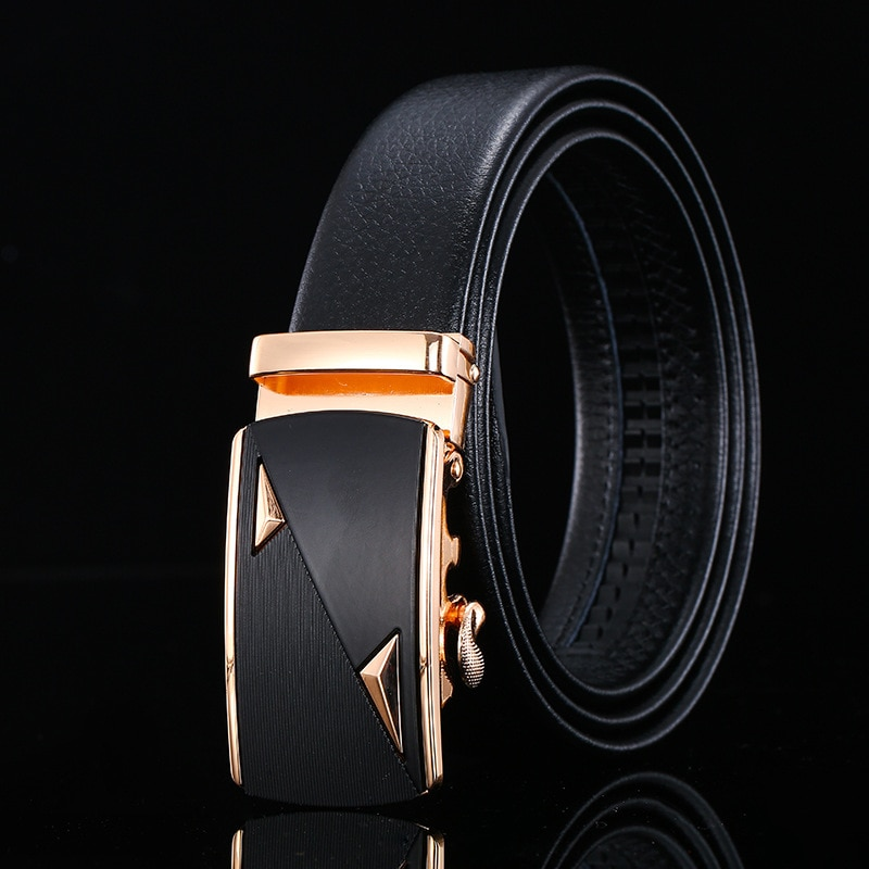 Peikong brand high quality luxury Automatic Buckle designer Male Genuine Leather waist fashion black Belt mens belts For Men