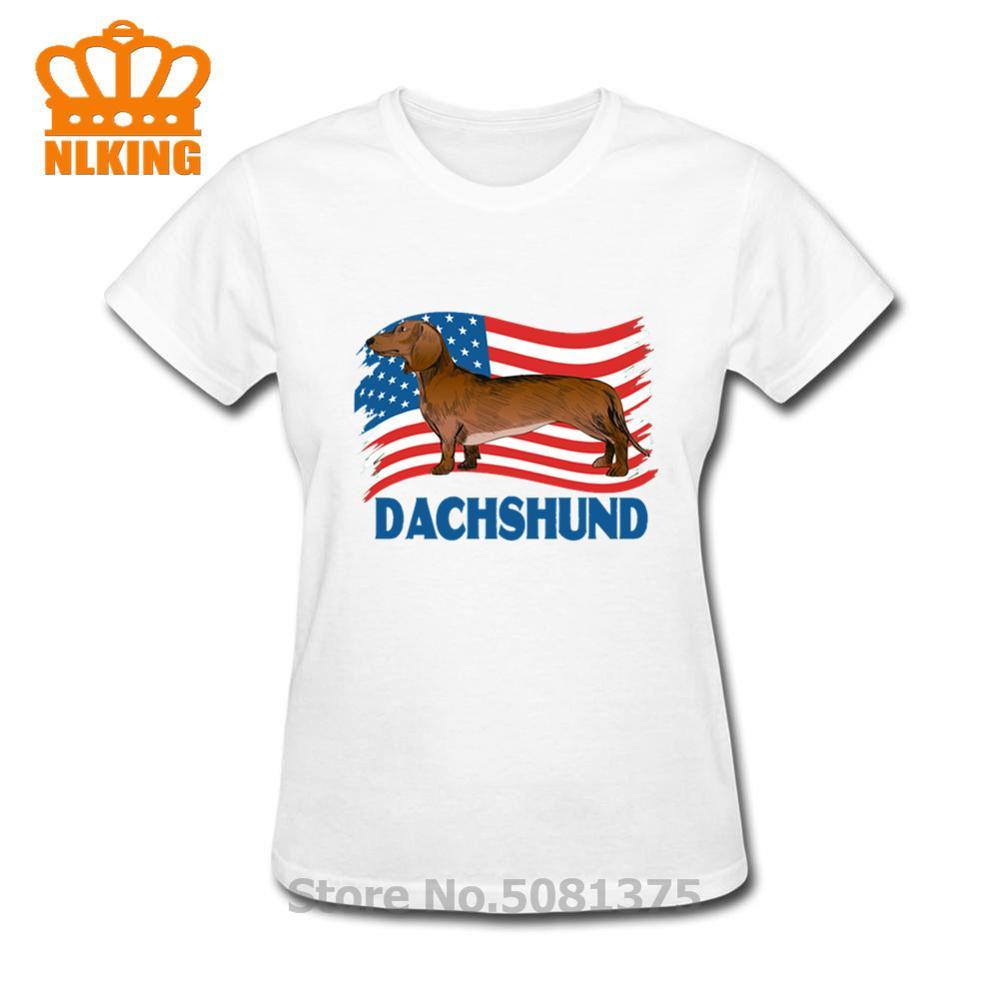 Dachshund perro Estados Unidos bandera camisa 4 de Julio camisetas americanas mujeres divertido USA bandera diseño señora Tops O cuello camiseta de manga corta Hipster