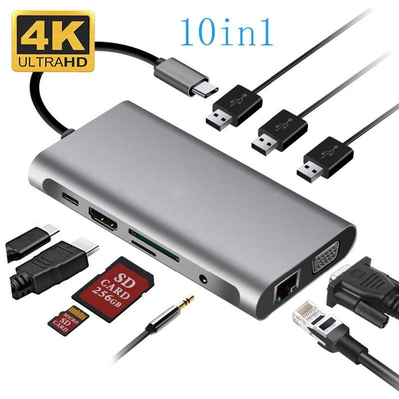 nucleo usb tipo c adaptador de audio 4k vga usb tipo c hub de audio para macbook