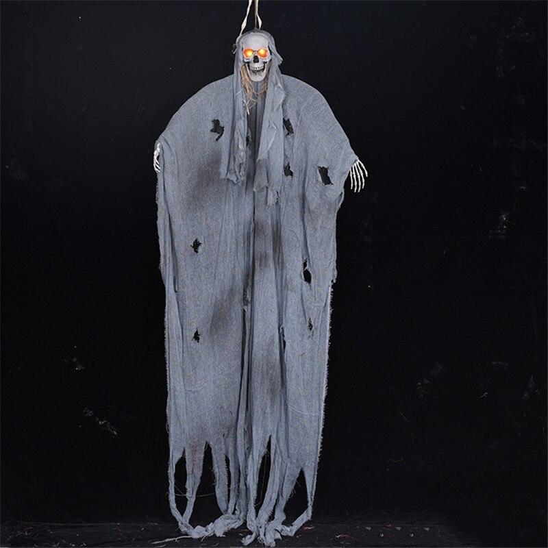 2,6 m Halloween colgante fantasma gris ropa eléctrica Control de voz delicado fantasma calavera embrujada casa Escape decoración Horror Accesorios