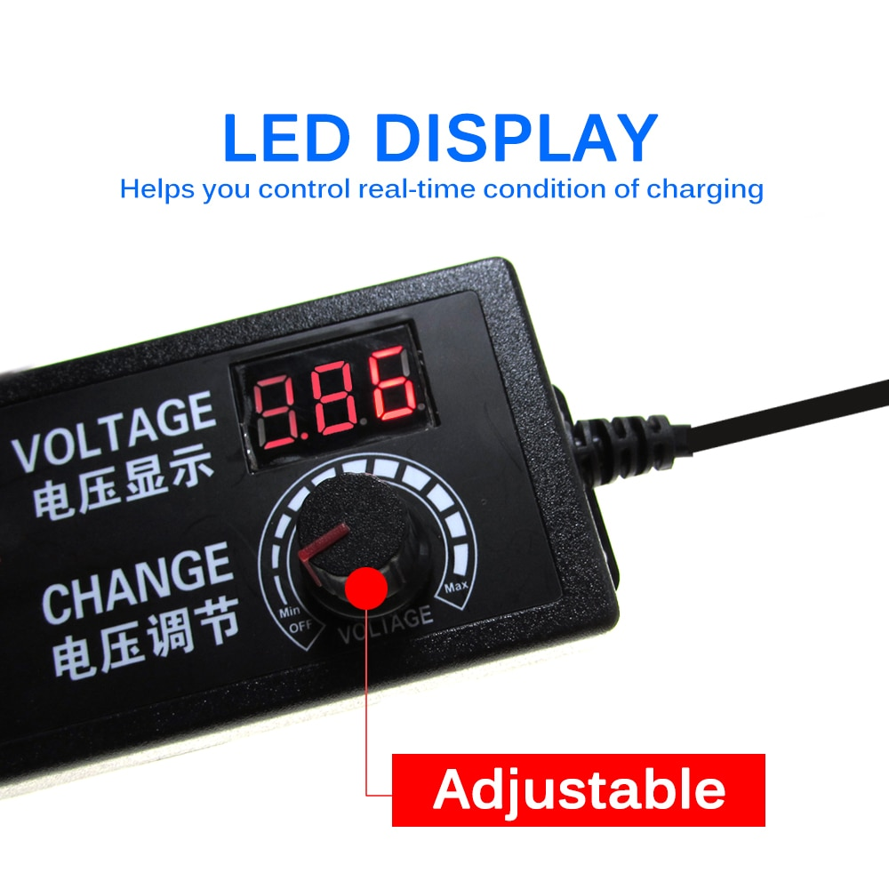 Adjustable AC 100V-240V TO DC 3V-12V 3V-24V 9V-24V 2A 3A Universal Power Adapter Supply With Display Screen Regulated Voltage enlarge
