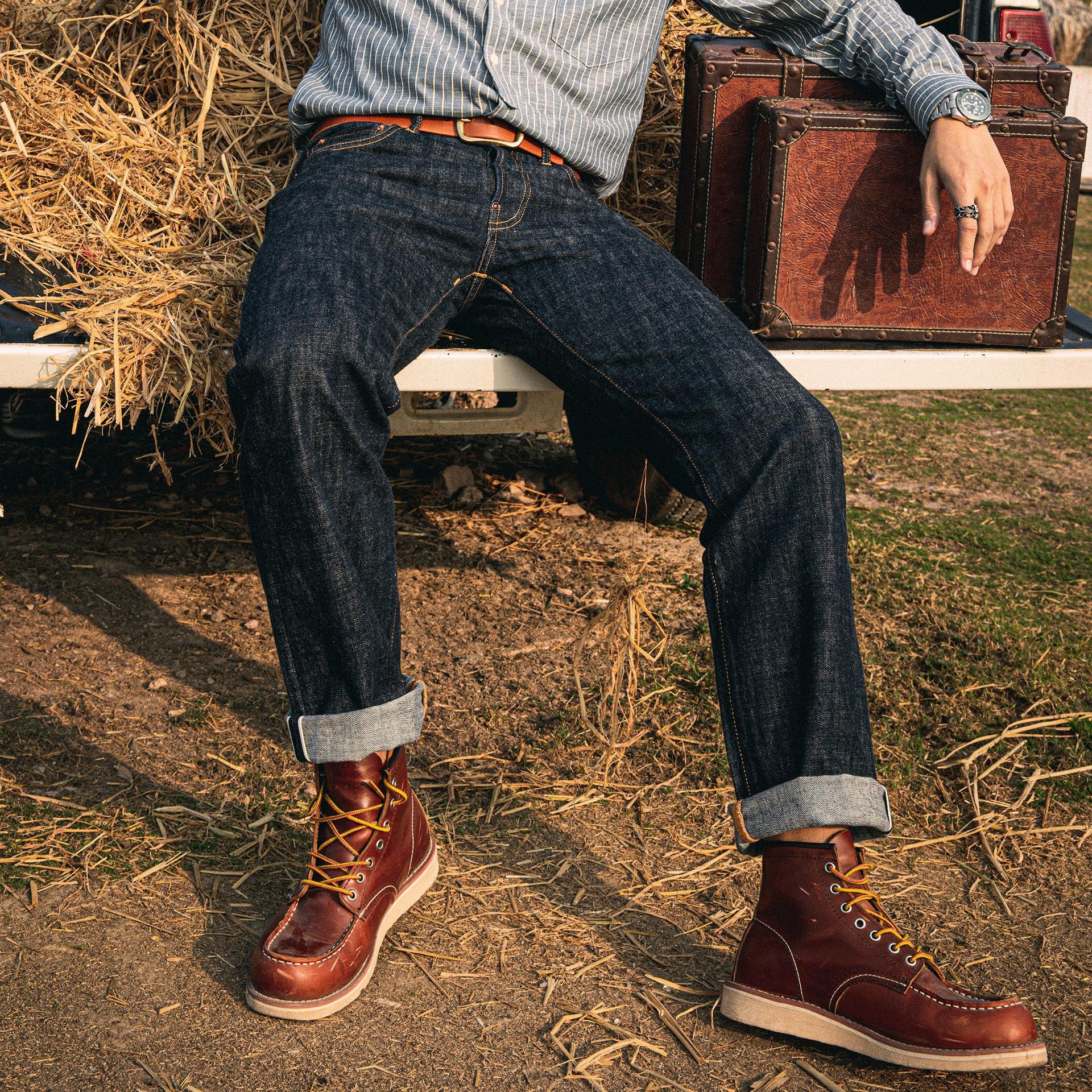 710-0001B Asian Size Read Description High Waist Raw Indigo Selvage Washed 14oz Denim Jeans Sanforised Pants