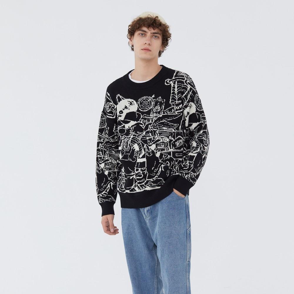 Забавная мультяшная одежда граффити из винтажной сетки ретро свитер harajuku мужская одежда мужские топы