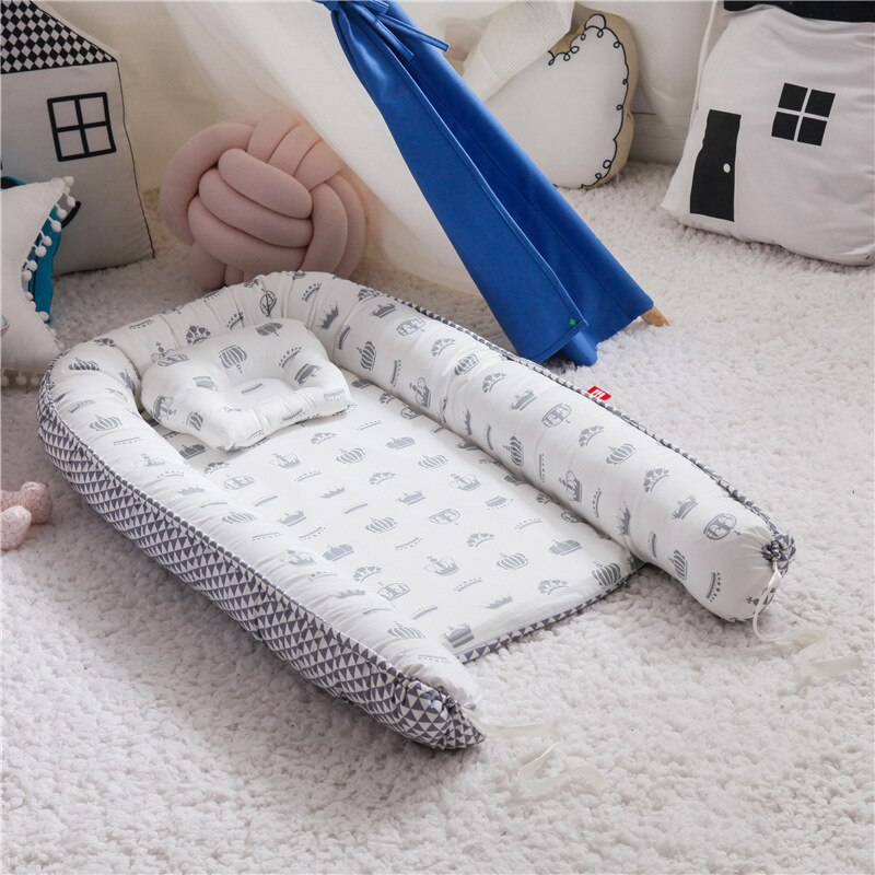 Baby Nest Bed with Pillow Portable Crib Travel Bed Infant Toddler Cotton Cradle for Newborn Baby Bed Bassinet Bumper 85*50cm