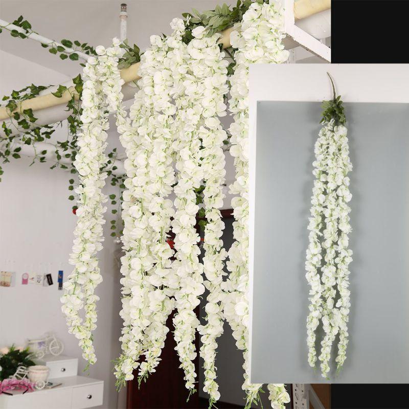 1 unid/set glicina de guirnalda blanca para el hogar flores colgantes Decoración Para ceremonia de boda al aire libre vid de glicinas de seda arco Floral Decoración