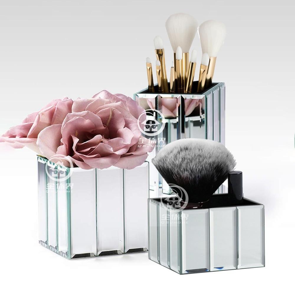 Organizador con espejo para maquillaje moderno, jarrón para flores secas, soporte para bolígrafo, cepillo para joyería, estuche de almacenamiento, cubo para organizador de Escritorio de oficina