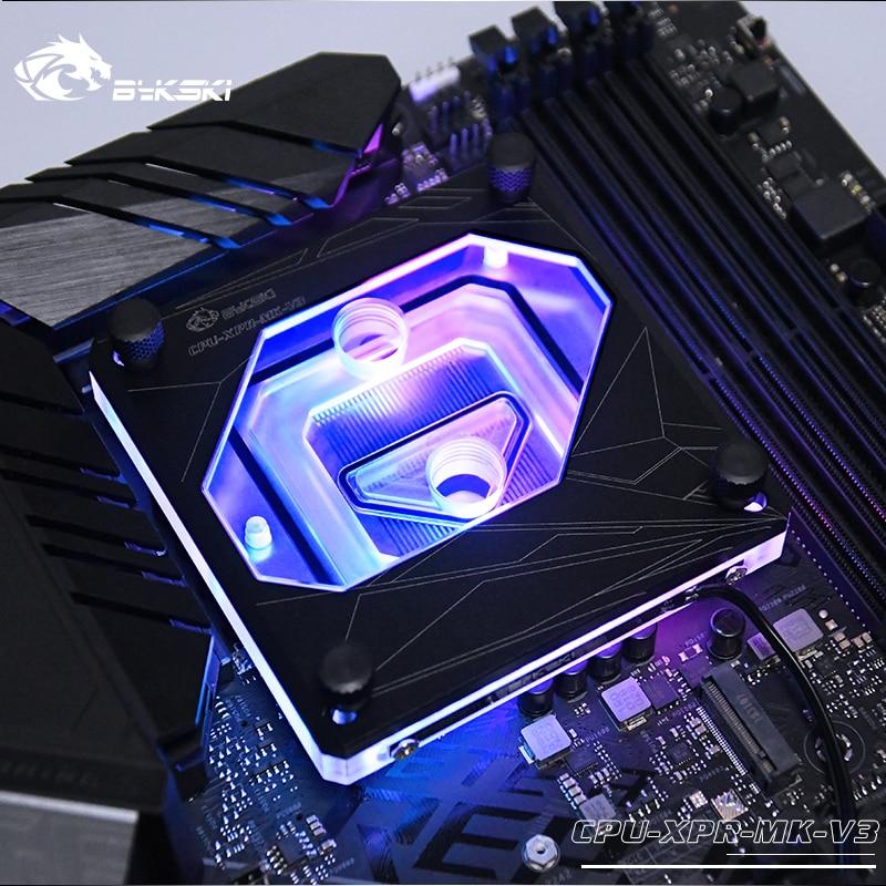 Водяной блок для процессора Bykski, для INTEL I7 115x LAG 1156/1155/1151/1150/2011/2066/1366, поддержка 3PIN 5 В, A-RGB/4 pin, 12 В, RGB светодиодный Lingt