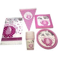 pink elephant decorate tablecloth plates cups hanging banner tableware set baby shower birthday party events napkins flags 51pcs