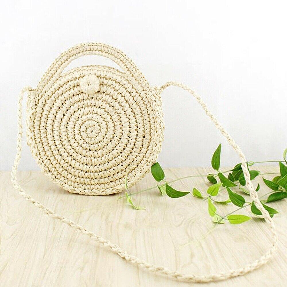Женская плетеная Сумка из ротанга круглая пляжная сумка через плечо бамбука