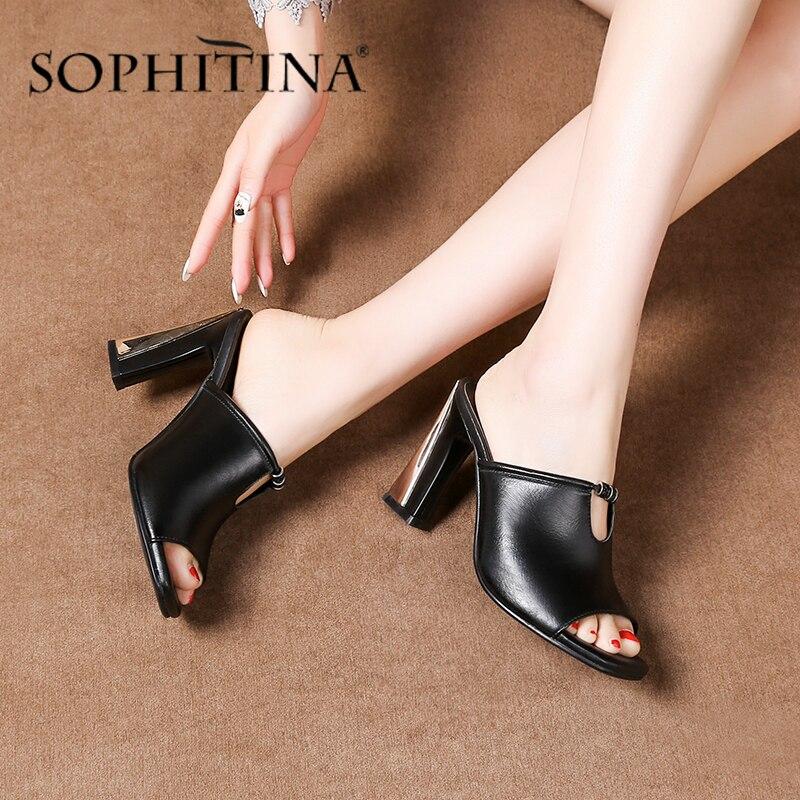 Sopitina-صندل نسائي من جلد البقر ، حذاء مفتوح من الأمام ، مطلي بالخرز والمعدن ، كعب عالي ، مثير ، SO475