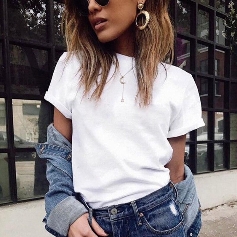 Camiseta de manga corta, camiseta de moda para Mujer, camiseta lisa, camisetas Kawaii para Mujer, ropa para Mujer