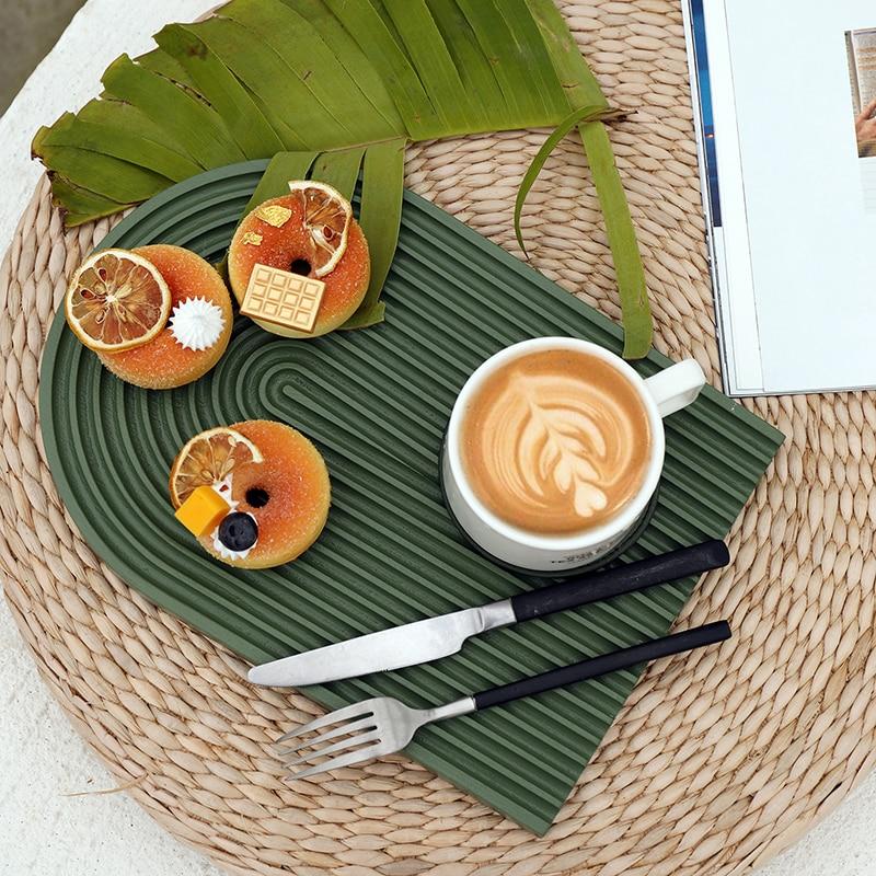 SWEETGO Wood Chopping Block Tray Morandi Color Handmade Dessert Plate Cake Table Decoration Makeup Jewelry Ring Storage