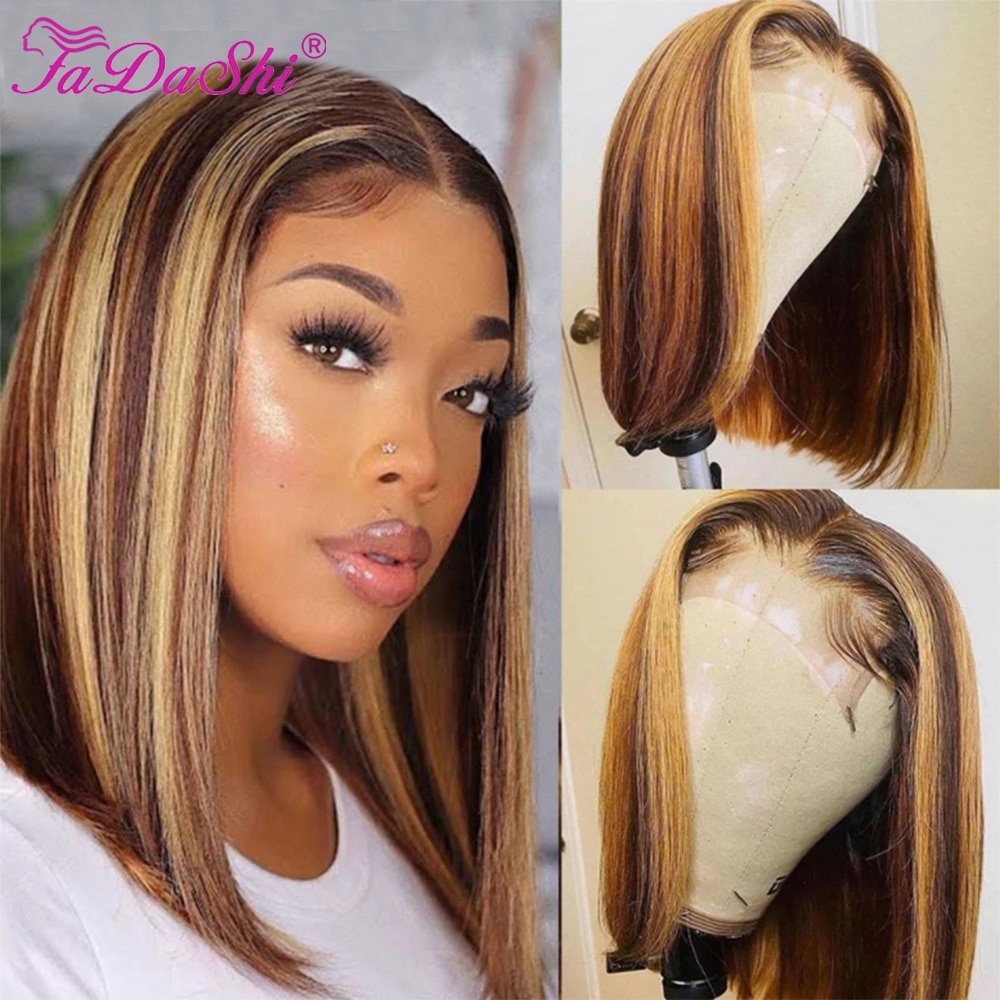Highlight Bob Wig Honey Blonde Lace Frontal Wigs Highlight Wig Human Hair Brazilian Hair Straight Ombre Colored Human Hair Wigs
