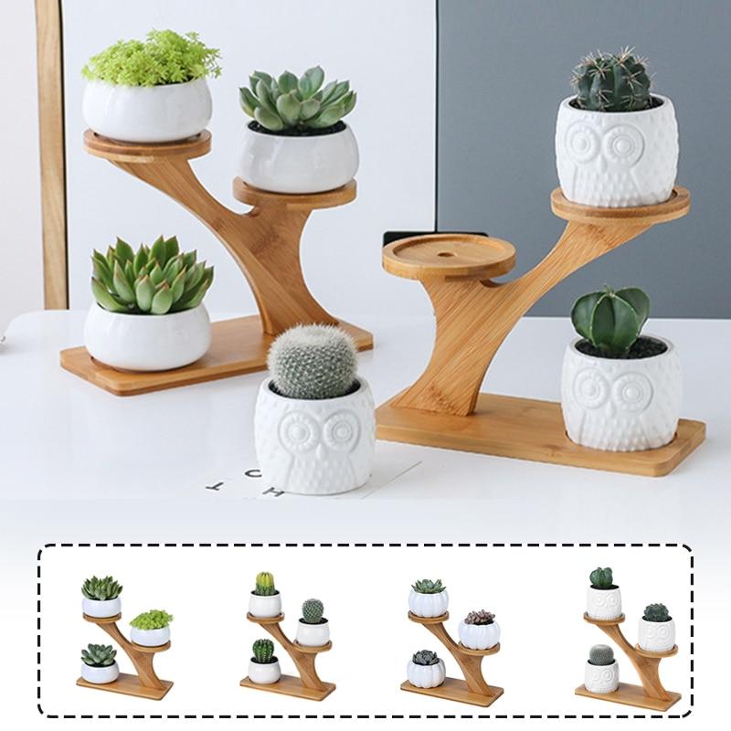 Полки для растений, подставка для цветов, креативная подставка для растений, Сова, тыква, Бамбуковая рама, керамический горшок для цветов, по...