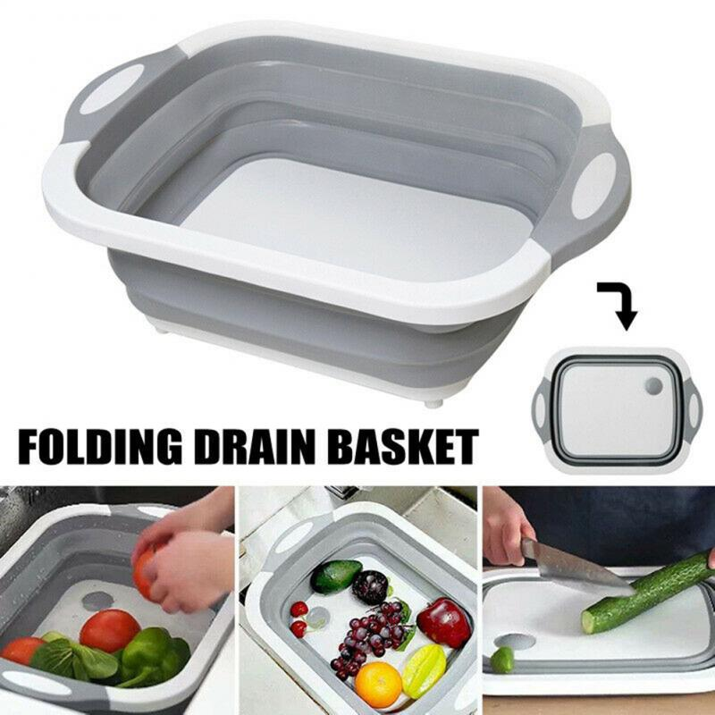 New 4 In 1 Folding Cutting Board Drain Basket Dish Tub Chopping Blocks Fruit Vegetable Sink Basin Kitchen Gadgets Storage Bucket