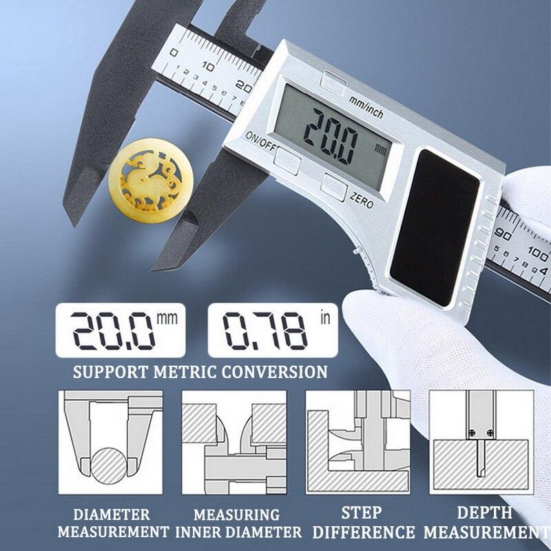 Calibrador Digital Vernier, herramienta de medición con pantalla LCD, calibradores de 0 a 150mm, herramienta de medición, calibradores Vernier, conversión métrica