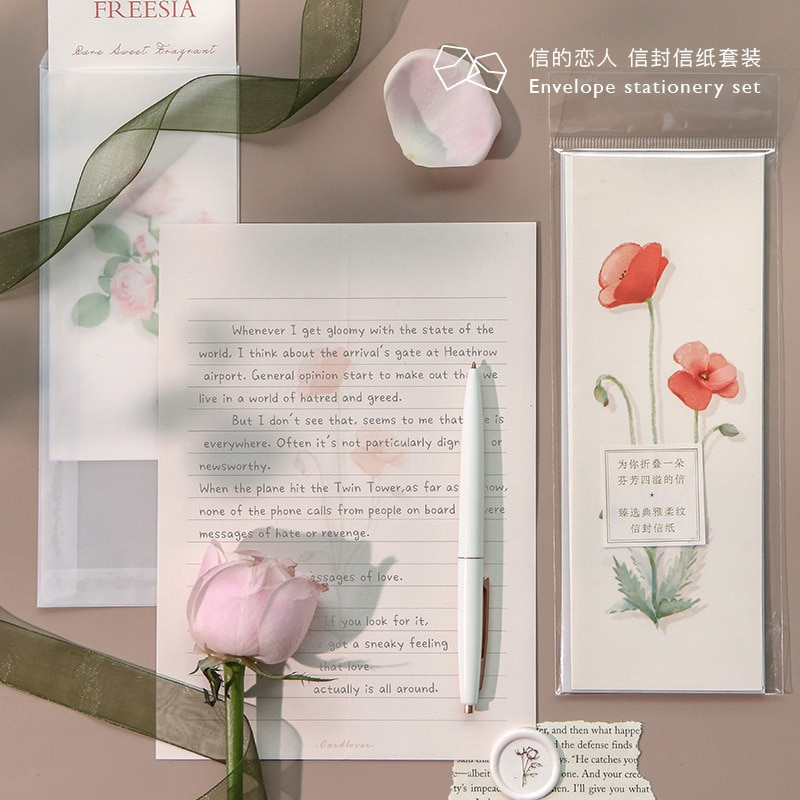 6 unids/pack flor fresca dulce translúcido sobre Mensaje carta papelería almacenamiento papel regalo