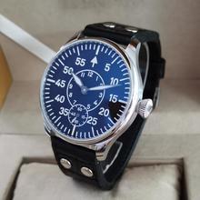 GEERVO No logo Pilot style 44mm Manual mechanical men's Watch Black dial super luminous ST3621 Movem