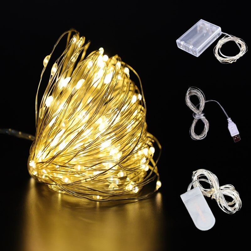 waterproof copper wire fairy garland home christmas wedding party decoration led string light 10m 5m 3m 2m powered by battery 2m/3m/5m/10m Copper Wire Battery Box Garland LED Christmas Wedding Decoration for Home Decoration Party Decor Fairy String Light