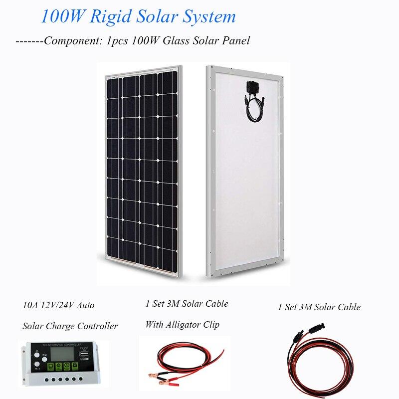 الألواح الشمسية أحادية البلورية ، 200 واط ، 100 واط ، زجاج مقسّى لمجموعة شاحن بطارية السيارة الشمسية 12 فولت 24 فولت