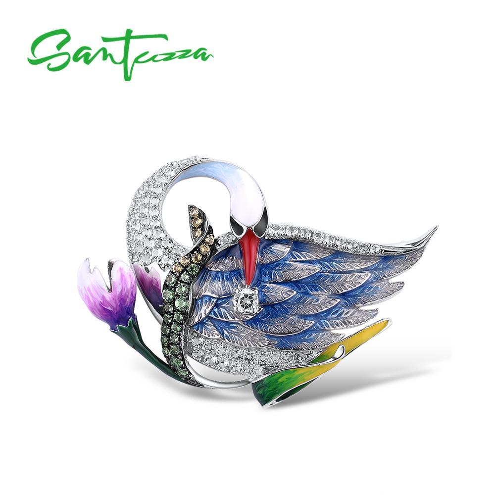 SANTUZZA broche de plata para mujer, Plata de Ley 925 pura, cisne azul, flor de Animal, joyería fina de moda hecha a mano, esmalte