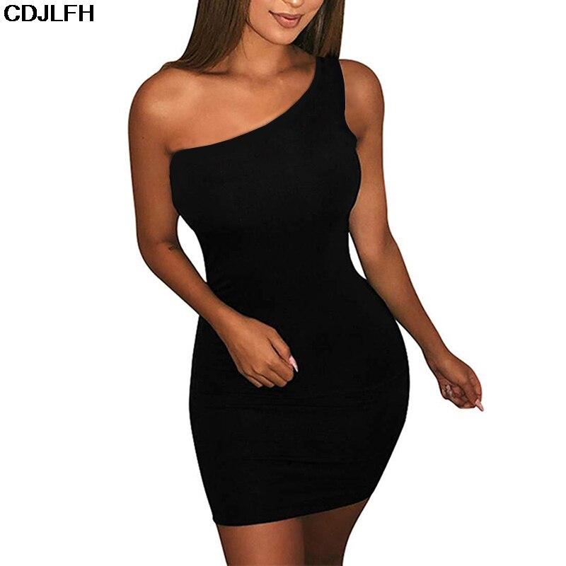 CDJLFH-body sin mangas para mujer, Vestido corto informal y básico con un hombro al descubierto, vestido negro de fiesta