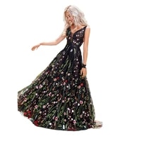 floral embroidered dress women sexy deep v sleeveless evening party elegant slim backless large swing long dresses female lr1437