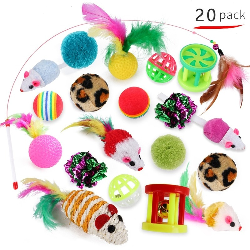 Juego de 20 unids/pack de juguetes para gatos, ratón, pluma, cuerda, Gato de juguete, juguetes interactivos