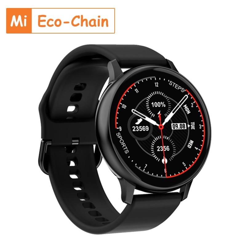 Monitoramento do Sono Eco-chain Relógio Inteligente Homem Tela Redonda Toque Completo Pressão Arterial Freqüência Cardíaca Relógios Femininos Masculinos mi Dt88pro