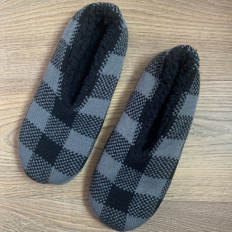 Men Home Indoor Sock Slippers Knitted Check Plush Cotton Shoes Male Soft Fluffy Velet Slipper 2021 Bedroom Warm House Footwear