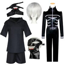 Anime Tokyo Ghoul Haise Sasaki Cosplay Costumes Kaneki Ken tout cuir manteau + pantalon + veste + short masque perruque noir combat uniforme