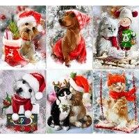 5d diy diamond painting christmas gift pet cat dog full squareround diamond embroidery animal rhinestone picture home decor
