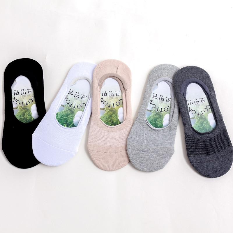 جوارب رجالية غير مرئية ، جوارب صيفية غير قابلة للانزلاق ، قطن ناعم ، مسامي ، 10 أزواج