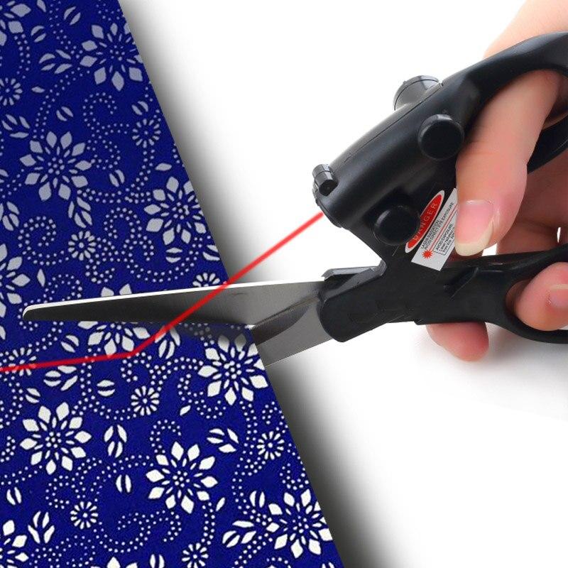 Tijeras de costura con guía láser profesional, tijeras de acero inoxidable con láser de posicionamiento por infrarrojos para costura, suministros de costura