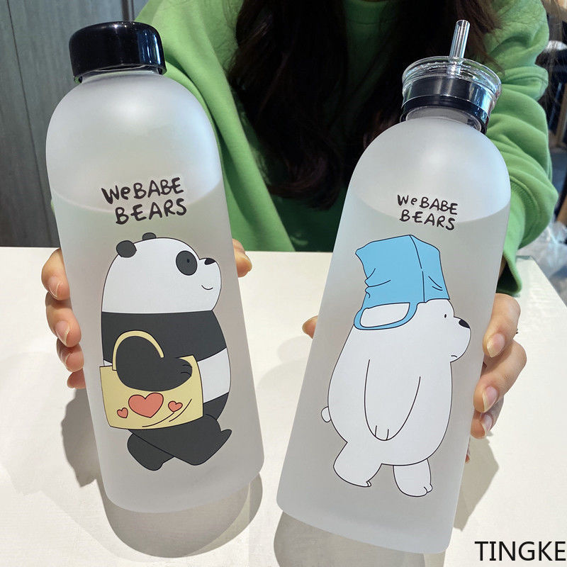 Large-capacity plastic water cup with straws Korean bottle portable handy cup large water bottle 100