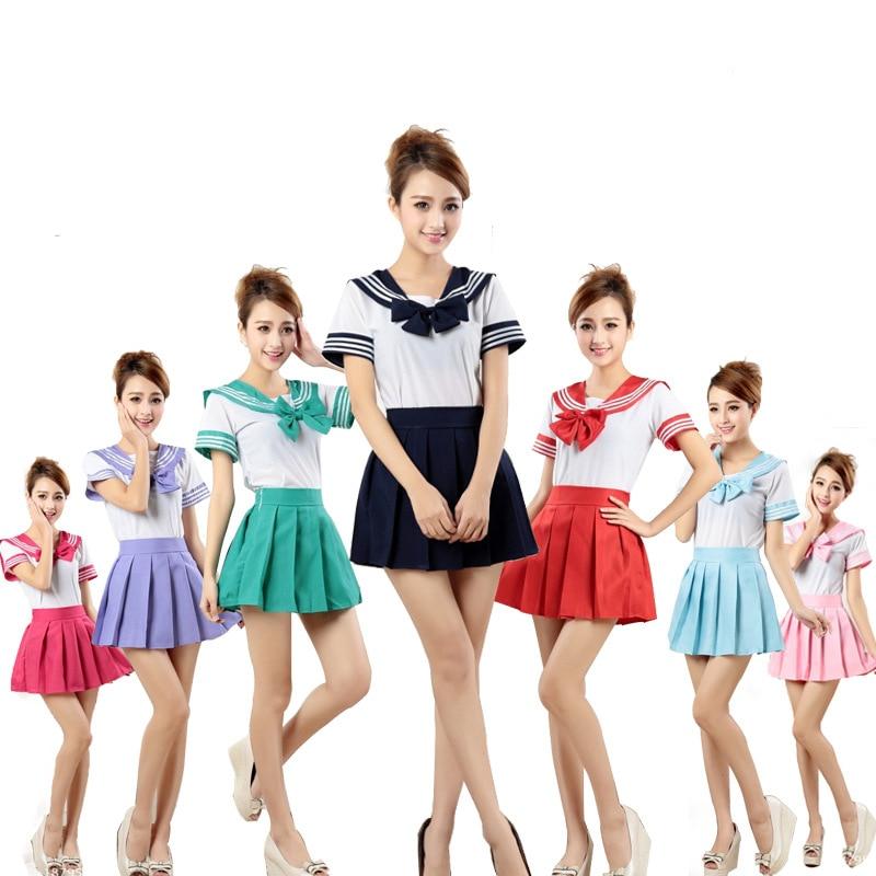 7 цветов, японская школьная форма, аниме, костюм моряка, топы + галстук + юбка, JK, темно-синий стиль, школьная одежда для девочек