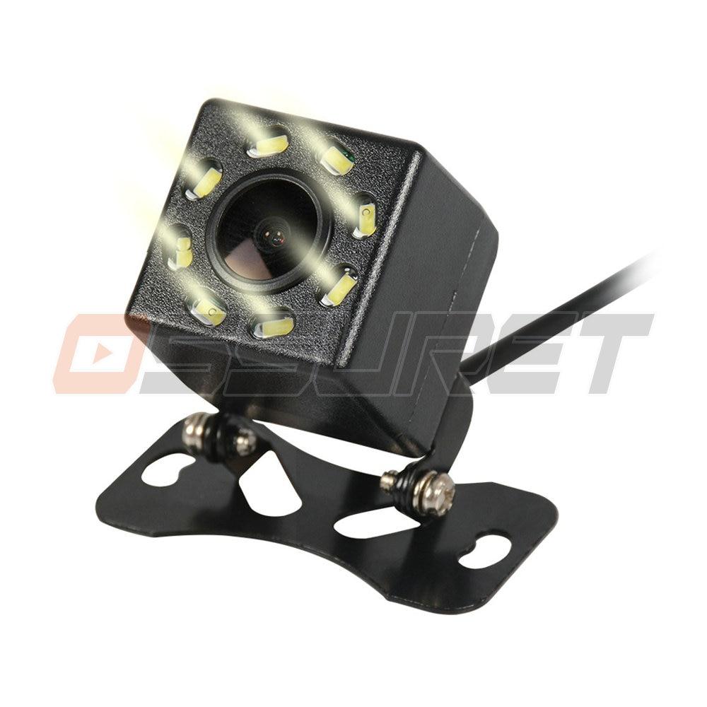 Cámara Ossuret vista trasera de coche para todos los coches 8 LED de visión nocturna Monitor de aparcamiento de coche de marcha atrás CCD impermeable 170 grados HD Video