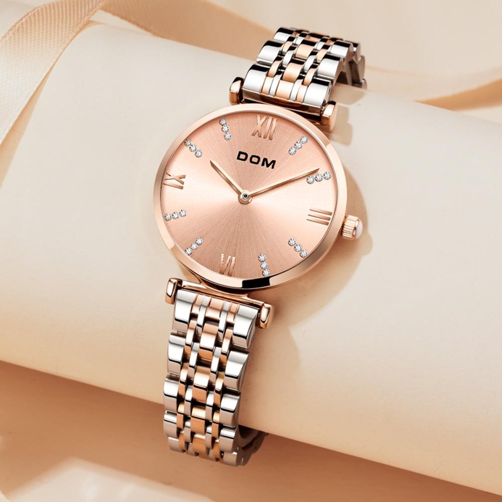 DOM Trendy ladies watch diamond roman numeral diamond casual fashion luxury waterproof swimming stainless steel strap G-1341 enlarge