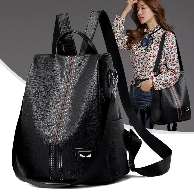 AliExpress - Women Bag Fashion School Bags Large Capacity Travel Backpacks mochila 2021 New Women Backpack Designer high quality Leather