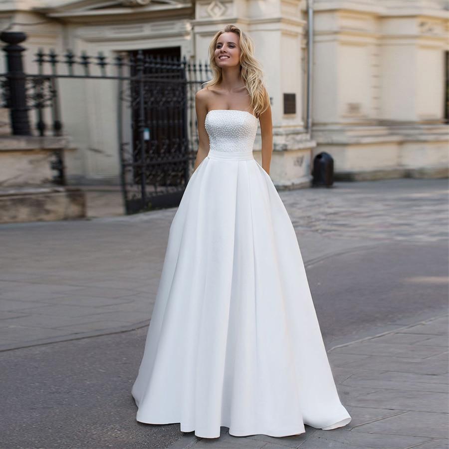 Strapless White Matte Satin Crystals Bodice A-line Wedding Dress with Pocket robe de mariee courte Bridal Gown